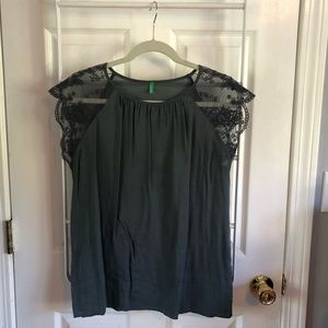 Grey top with lace shoulder